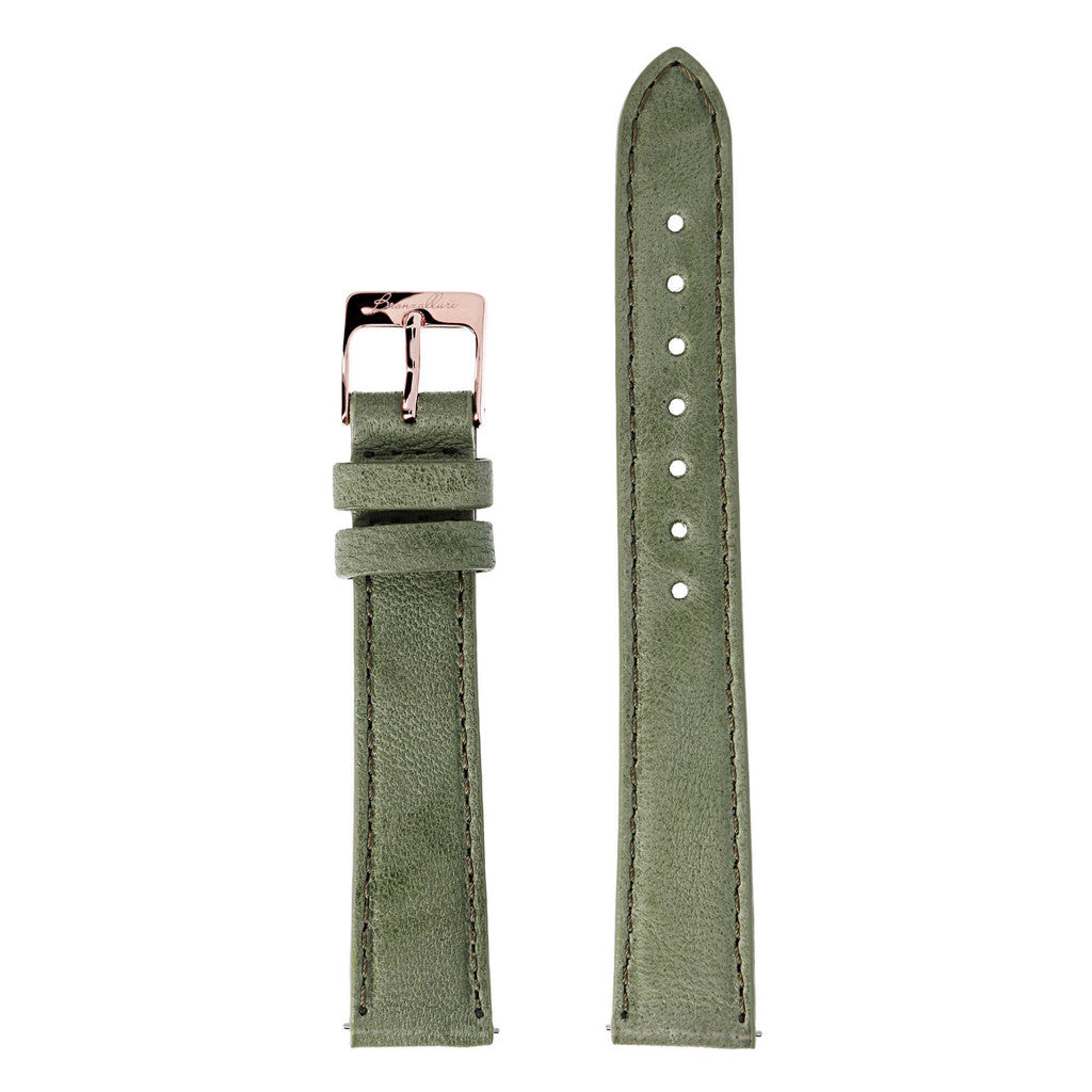 Green Medium Interchangable Bracelets in leather for Bronzallure Watch