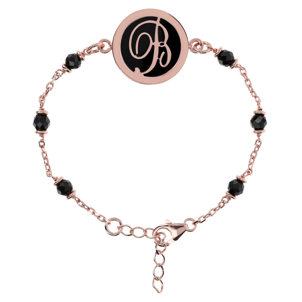 Letter B rolo bracelet with black spinel
