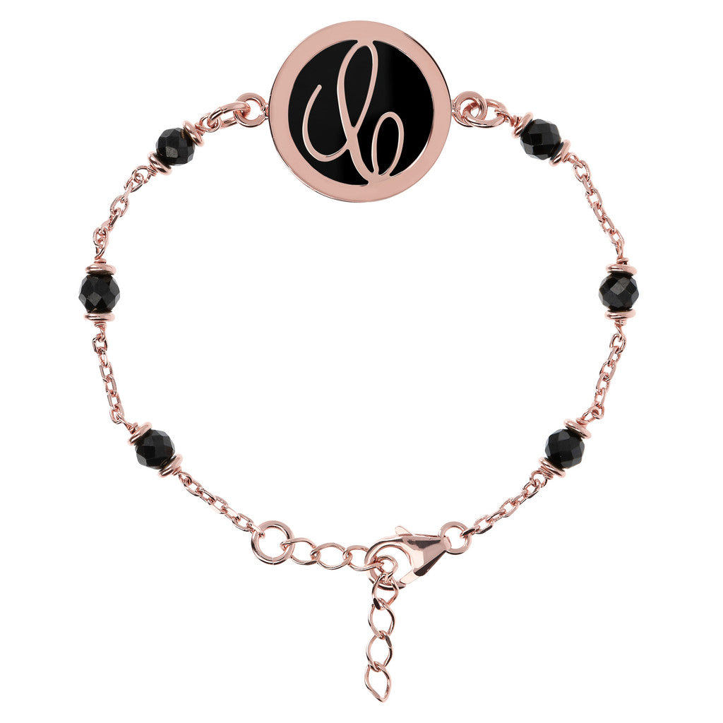 Letter C rolo bracelet with black spinel