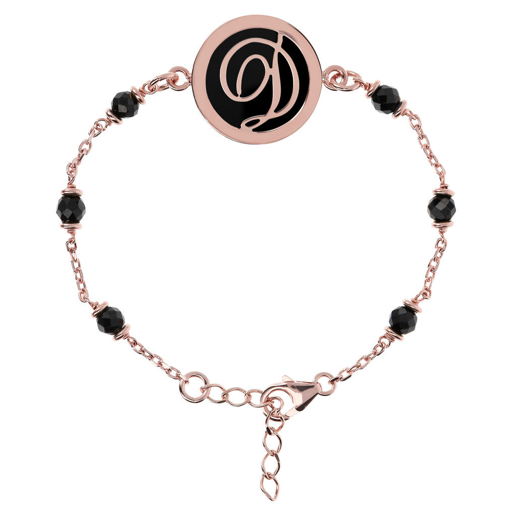 Letter D rolo bracelet with black spinel