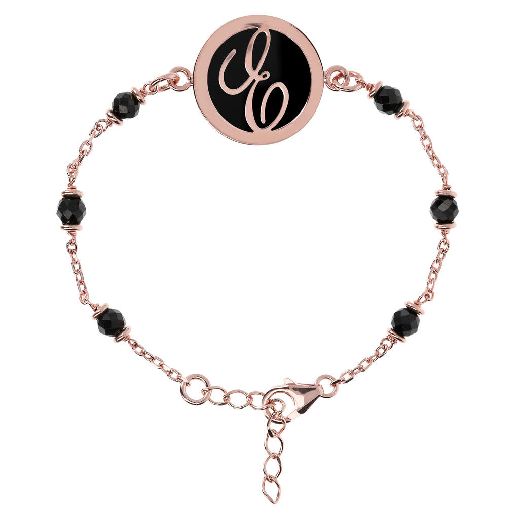 Letter E rolo bracelet with black spinel