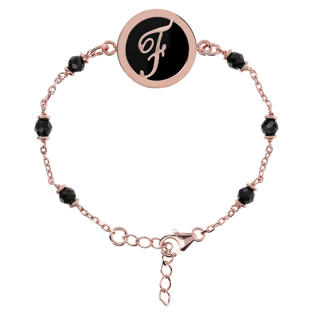 Letter F rolo bracelet with black spinel