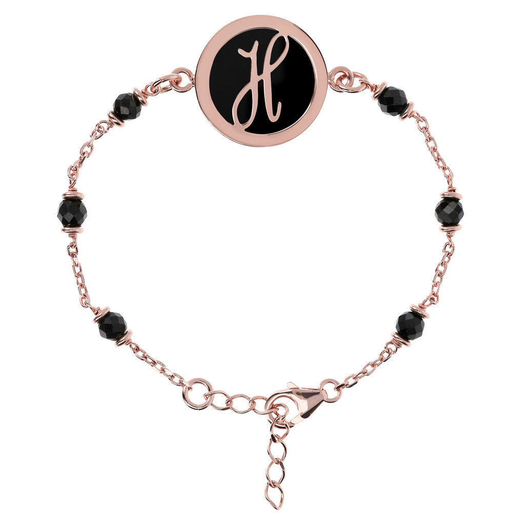 Letter H rolo bracelet with black spinel