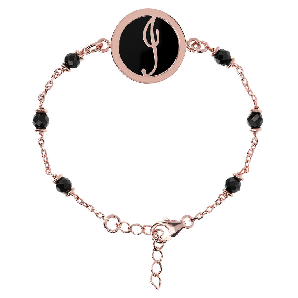Letter I rolo bracelet with black spinel
