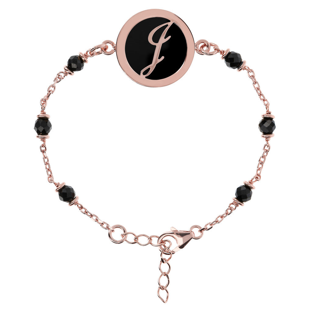 Letter J rolo bracelet with black spinel