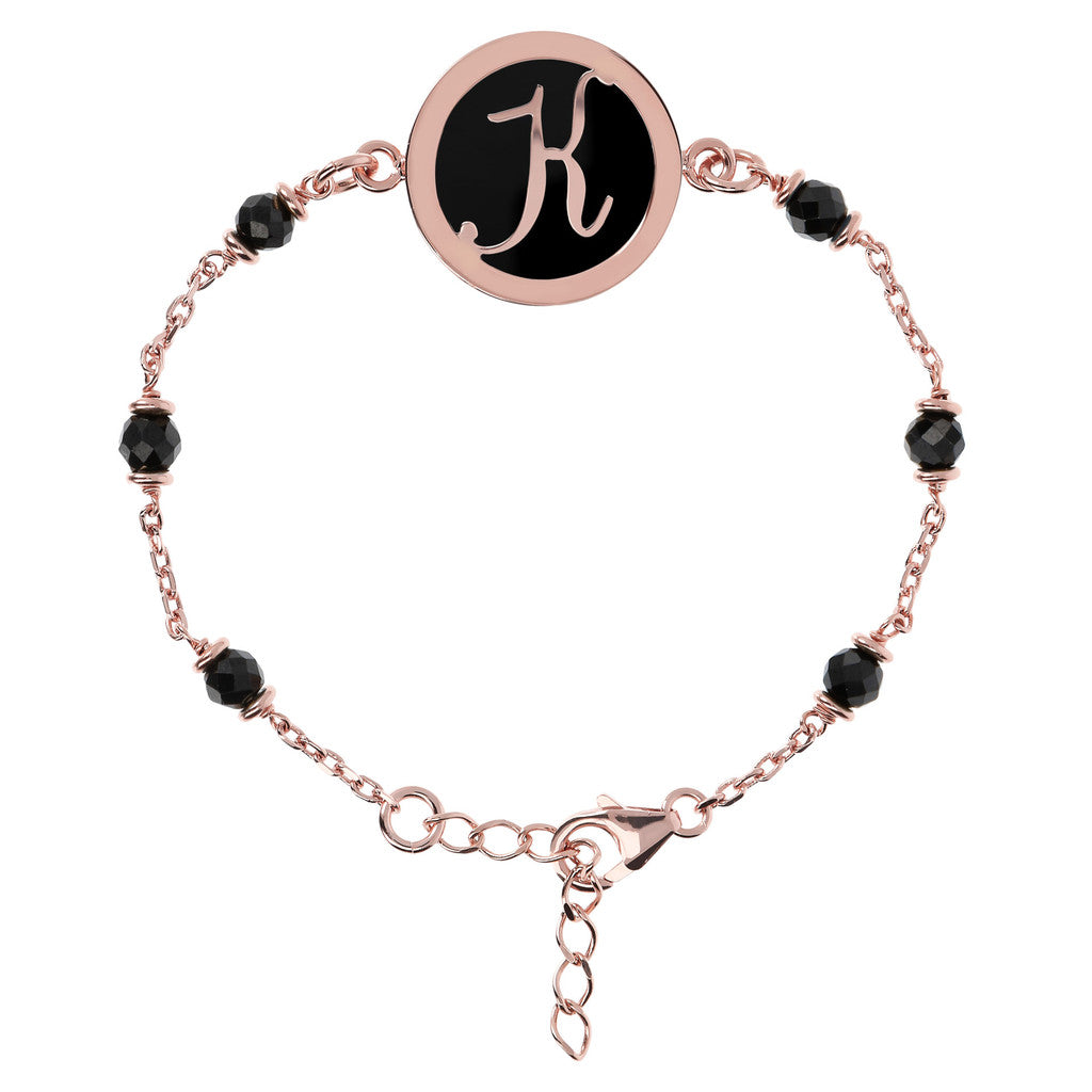 Letter K rolo bracelet with black spinel