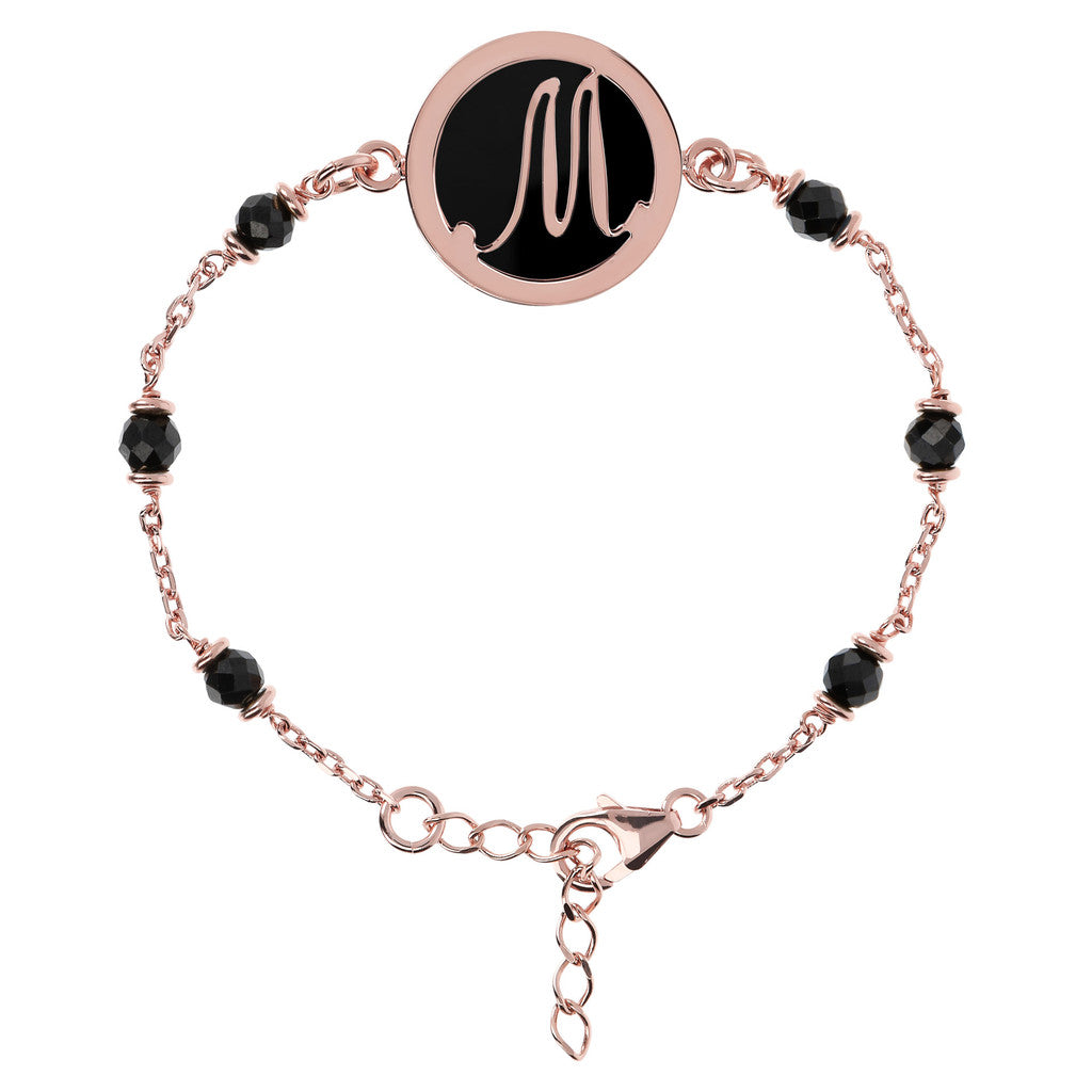 Letter M rolo bracelet with black spinel