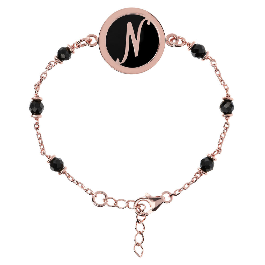 Letter N rolo bracelet with black spinel