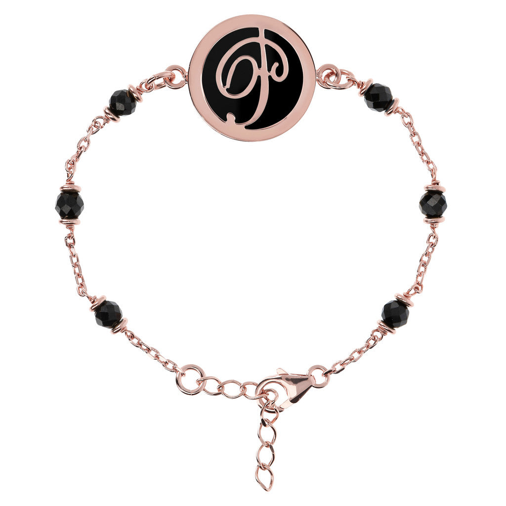 Letter P rolo bracelet with black spinel