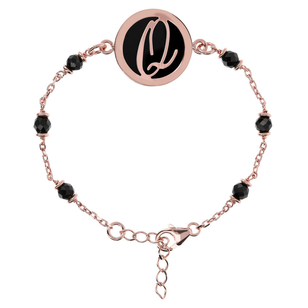 Letter Q rolo bracelet with black spinel