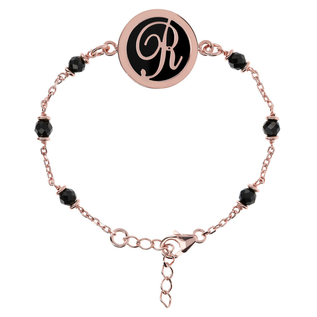 Letter R rolo bracelet with black spinel