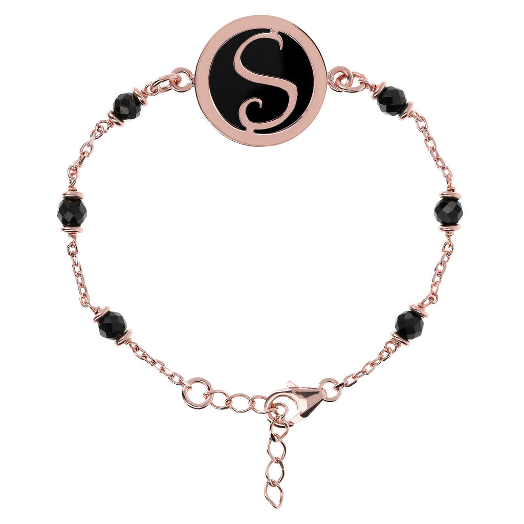 Letter S rolo bracelet with black spinel