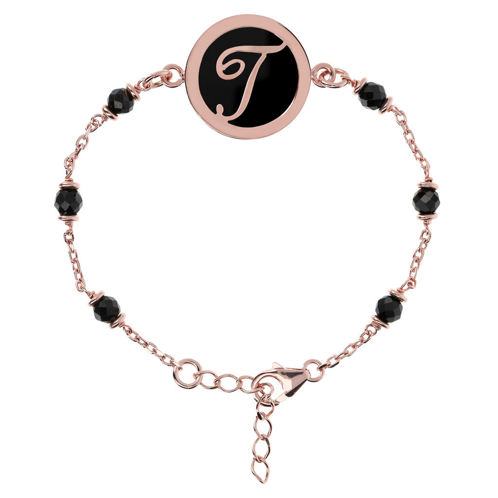 Letter T rolo bracelet with black spinel
