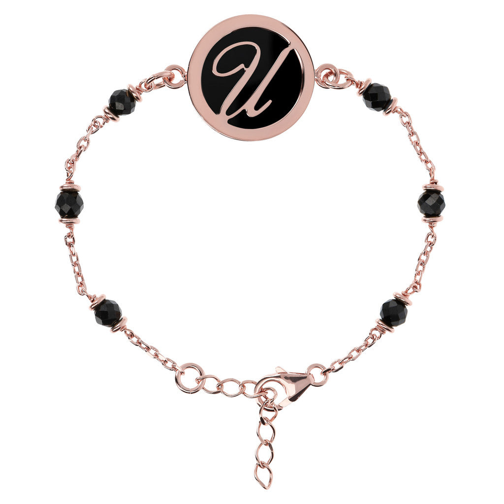 Letter U rolo bracelet with black spinel