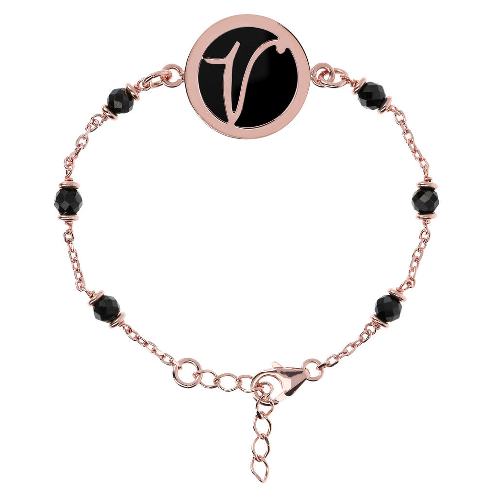 Letter V rolo bracelet with black spinel