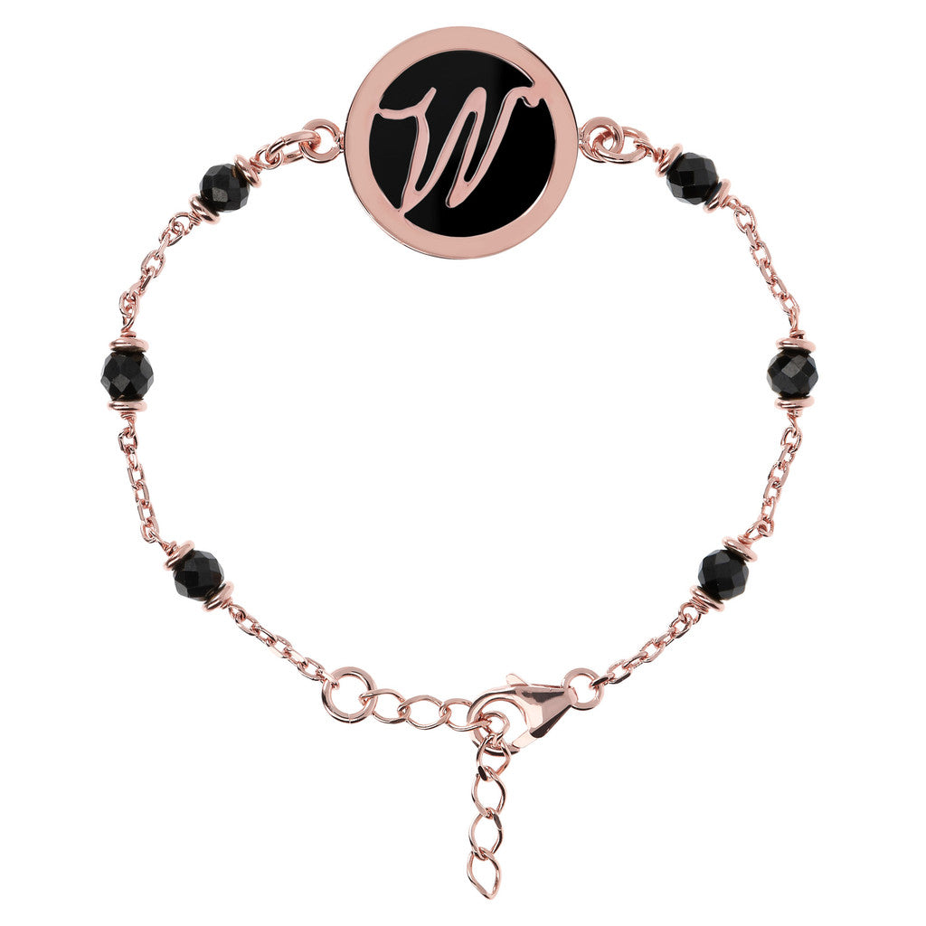 Letter W rolo bracelet with black spinel