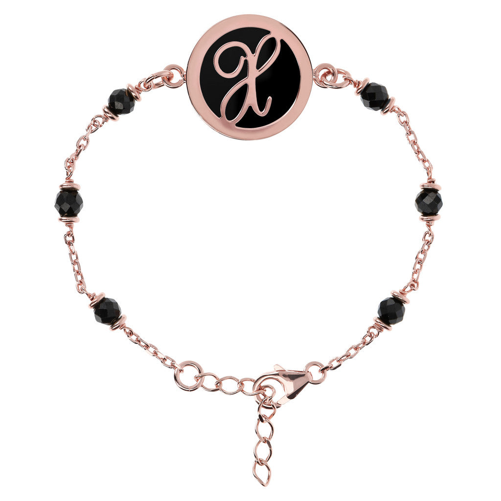Letter X rolo bracelet with black spinel