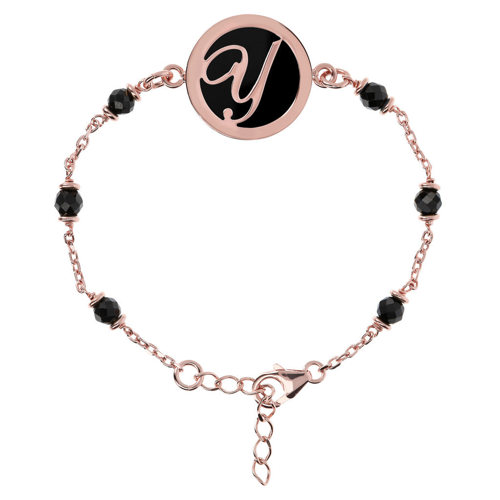 Letter Y rolo bracelet with black spinel