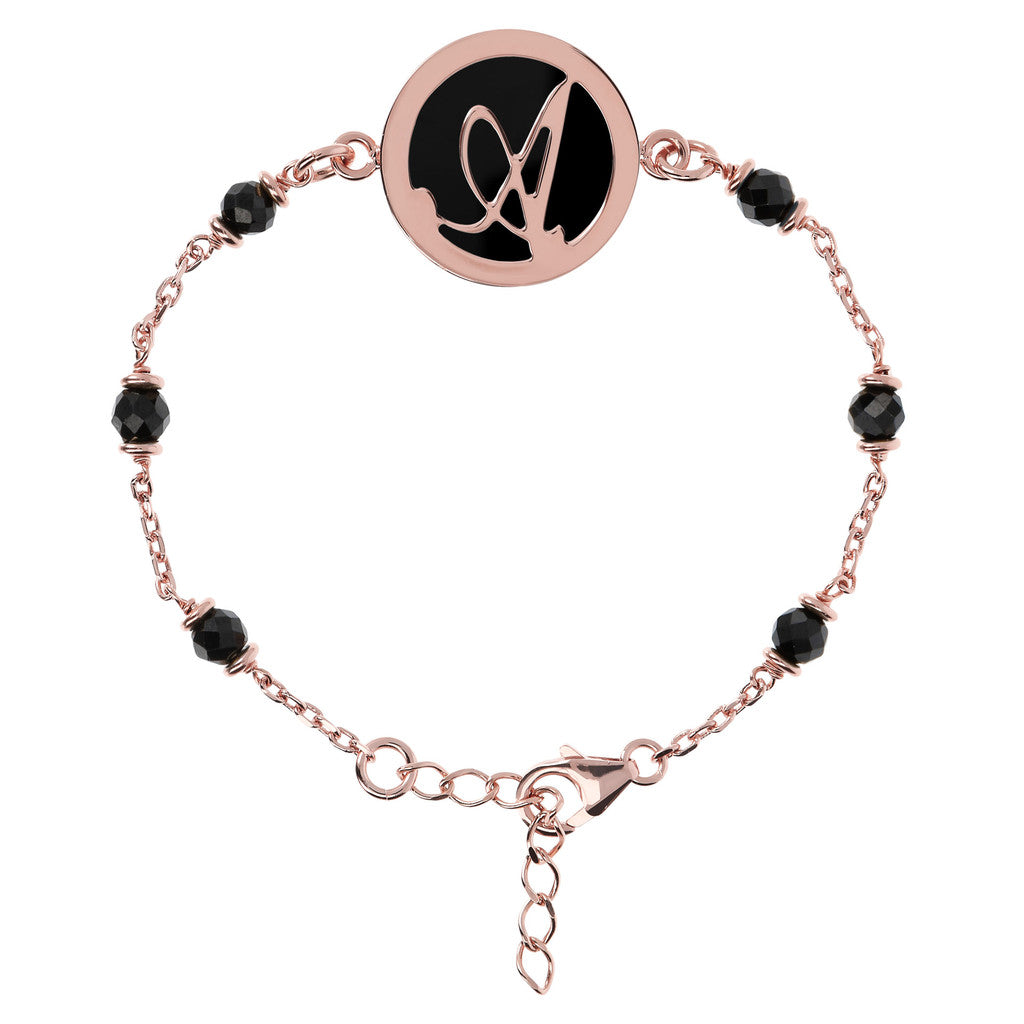Alphabet Bracelet with Black Spinel