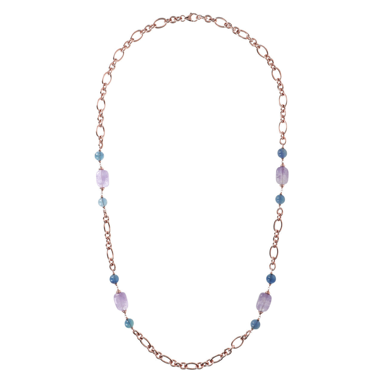 Amethyst and Fluorite Long Necklace