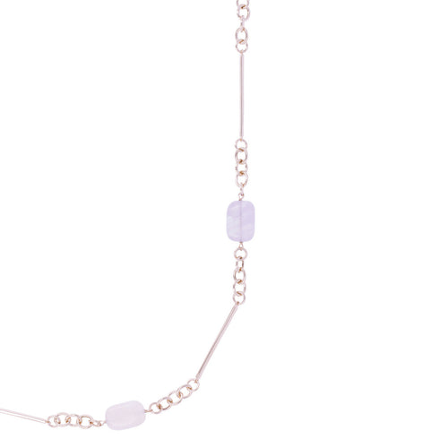 Amethyst and Rose Quartz Necklace from above