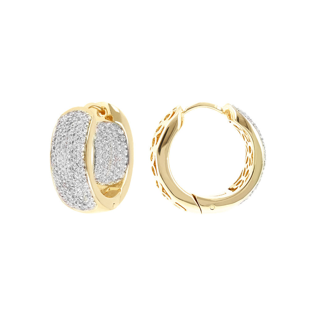 BRONZALLUR GOLDEN HOOP EARRINGS PAVETED WITH CZ - WSBZ00413Y front and side