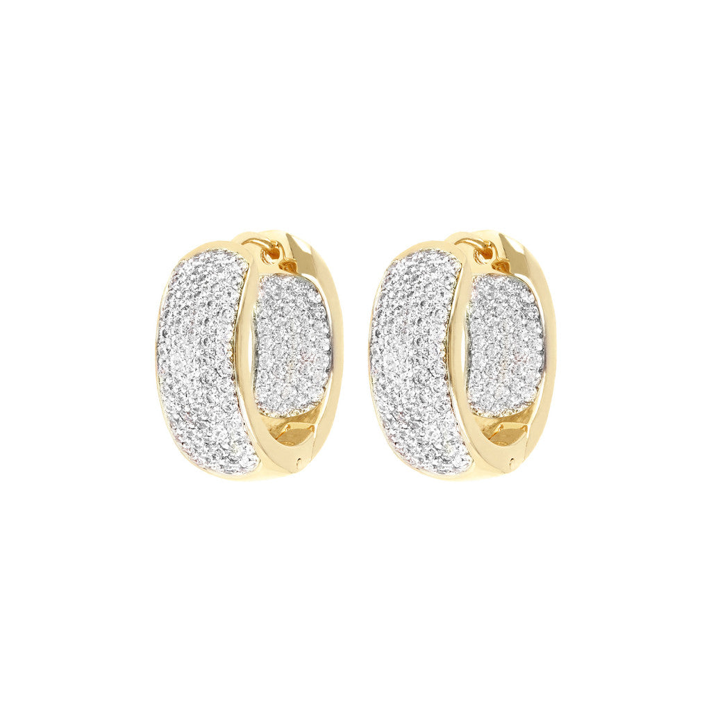 BRONZALLUR GOLDEN HOOP EARRINGS PAVETED WITH CZ - WSBZ00413Y