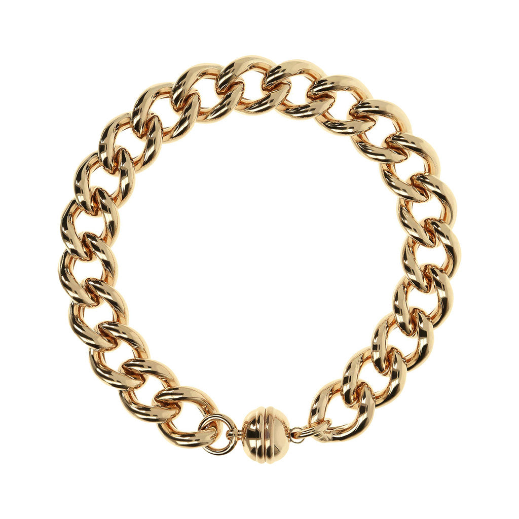 BRONZALLURE GOLDEN POLISHED CURB MAGNETIC BRACELET - WSBZ01117Y