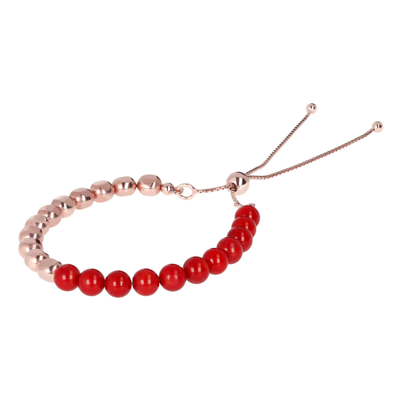 Beaded Friendship Bracelet with Gemstones RED CORAL