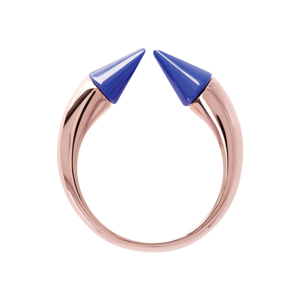 Bicolor Arrow Ring BLUE CERAMIC setting