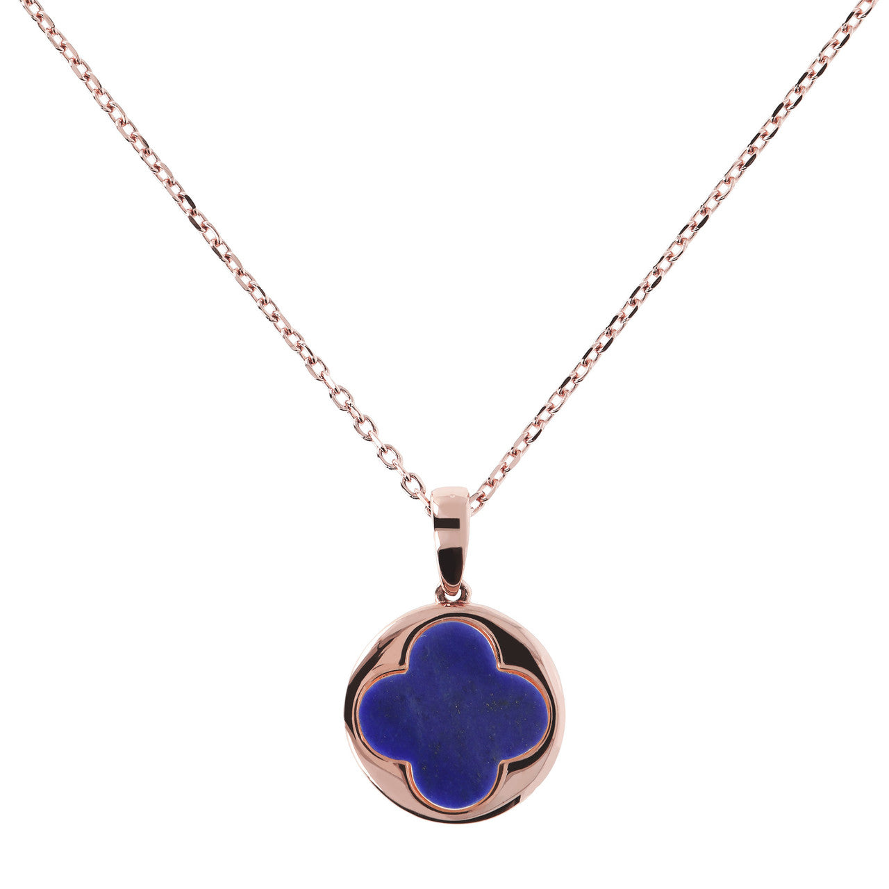 Four leaf clover pendant Necklace LAPIS