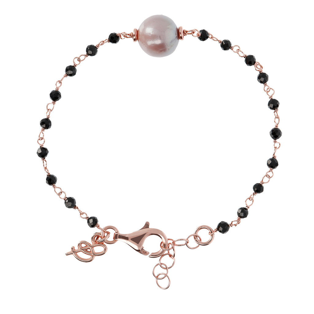 Black Spinel and Rose Pearl Bracelet