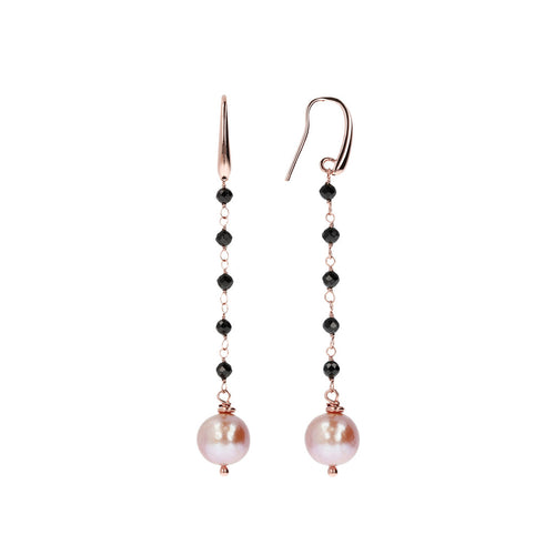 Black Spinel and Rose Pearl Dangle Earrings front and side
