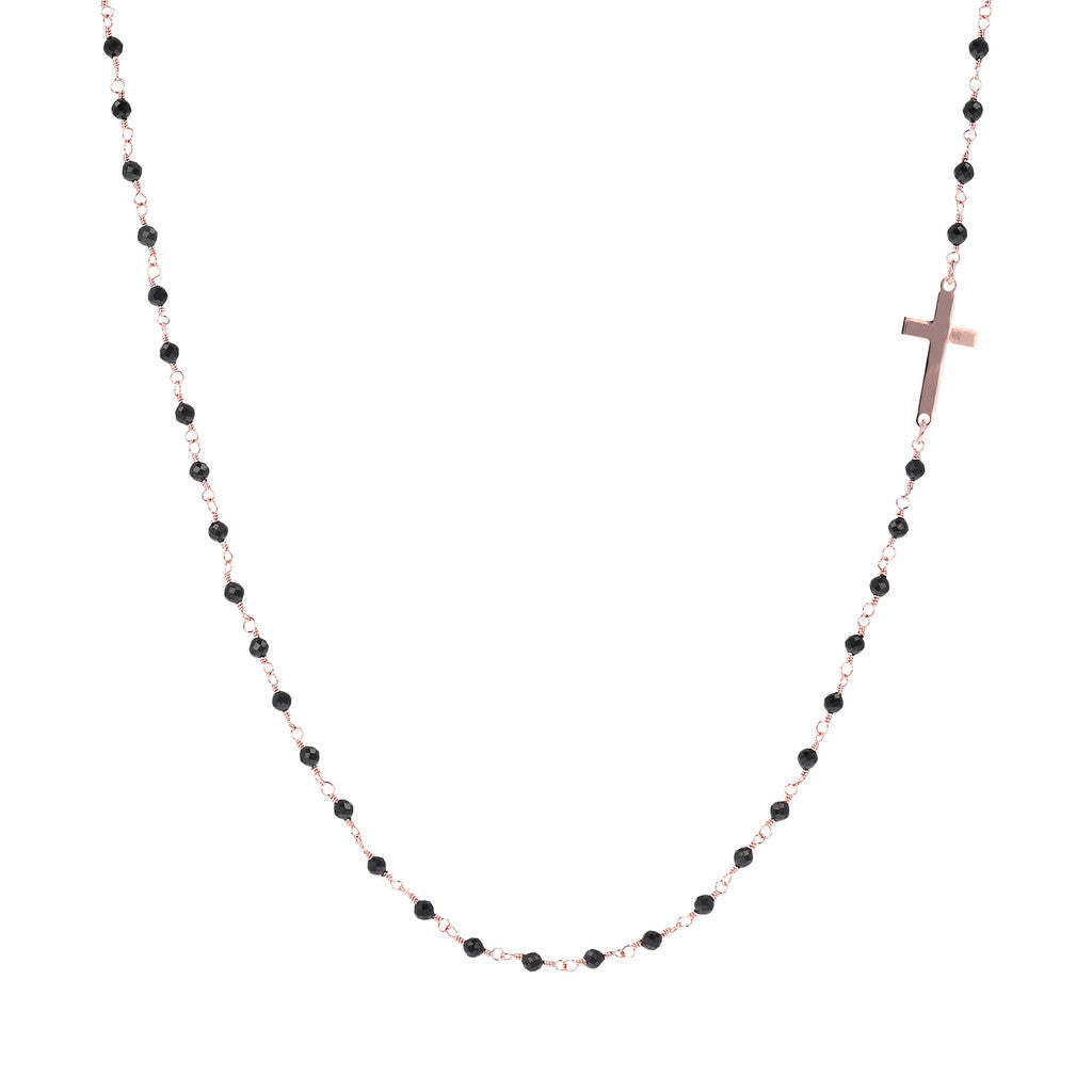 Black Spinnel and Cross Amorette Necklace