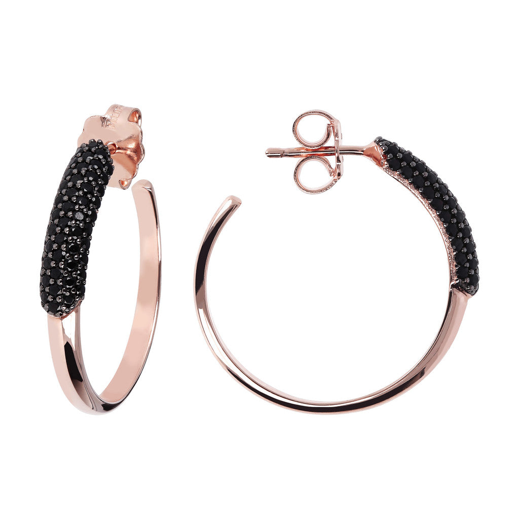 Black and White Pave Hoops front and side