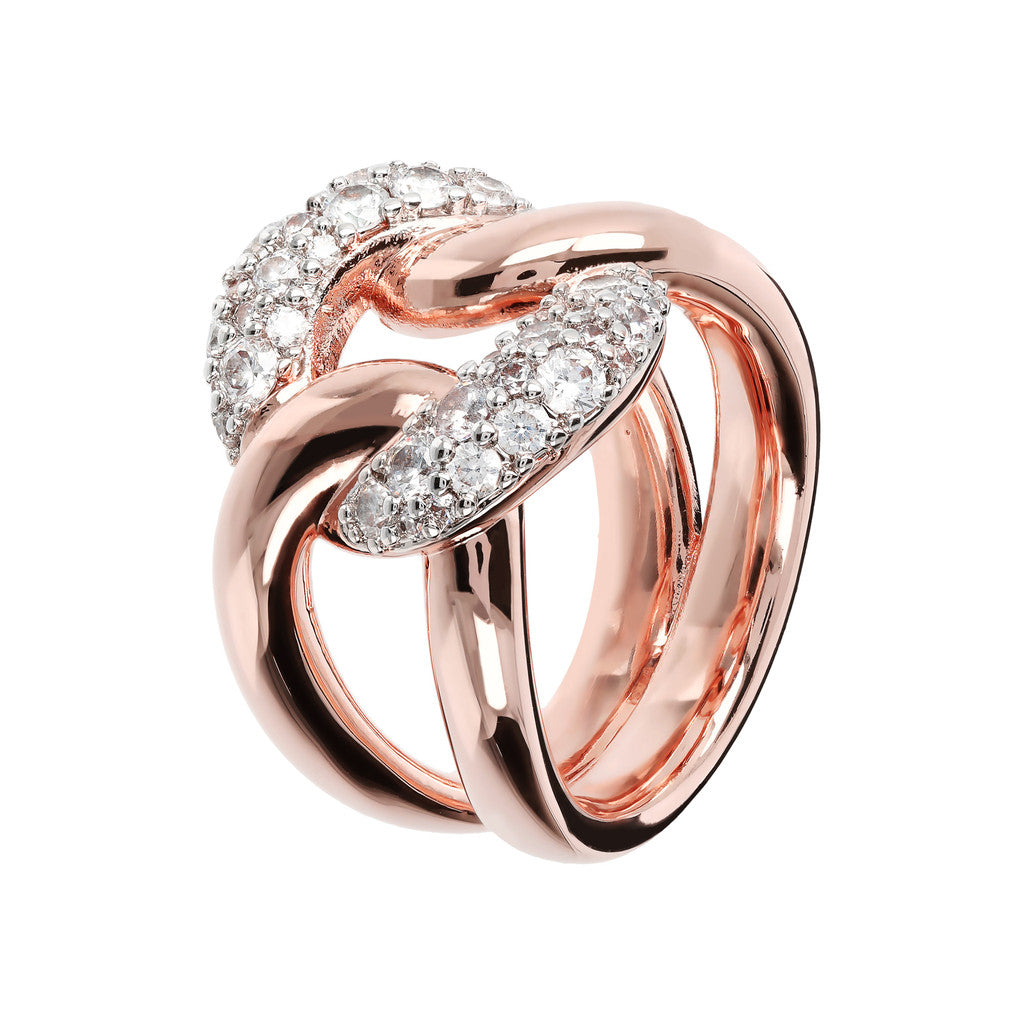 Bold CZ Chain Ring in Golden Rose