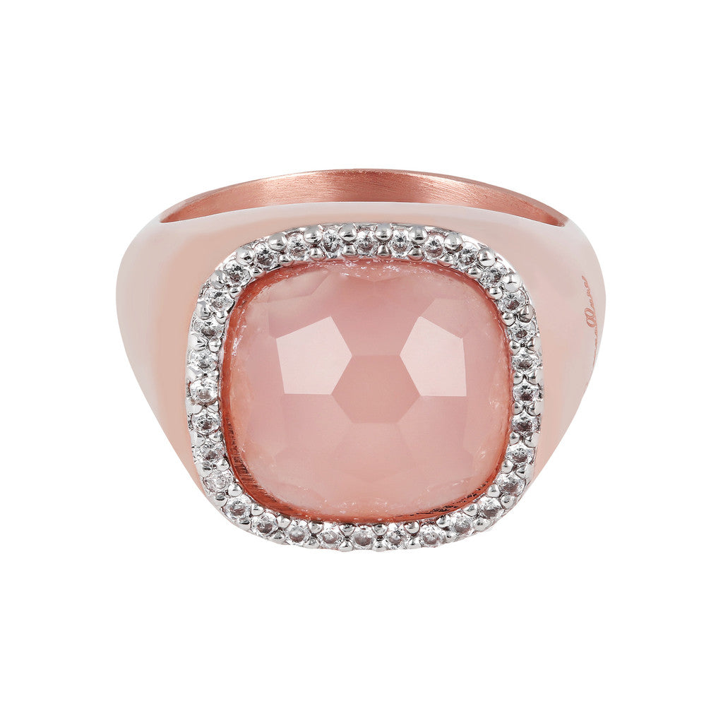 Bold Cushion Ring PINK CHALCEDONY setting