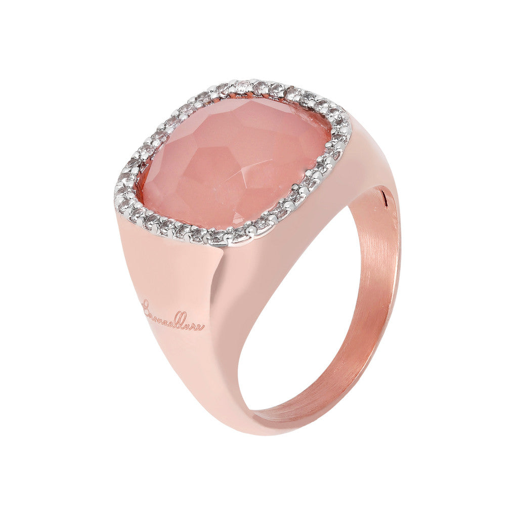 Bold Cushion Ring PINK CHALCEDONY
