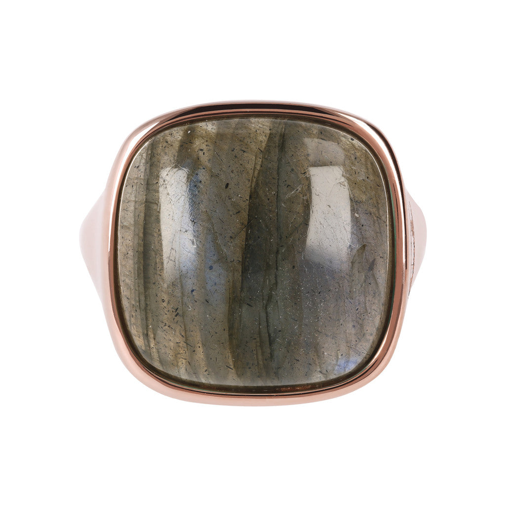 Bold Square Ring LABRADORITE setting