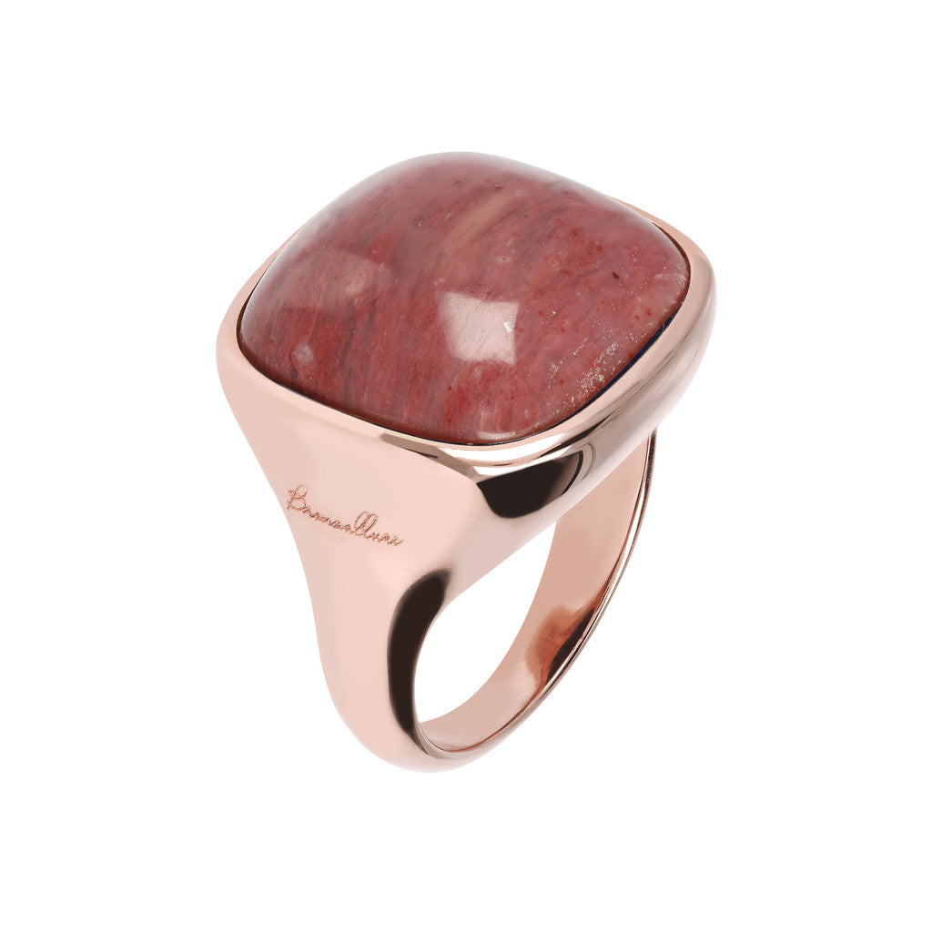 Bold Squared Ring RED FOSSIL WOOD