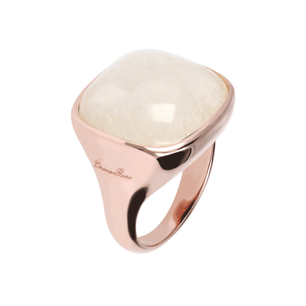 Bold Square Ring WHITE MOONSTONE