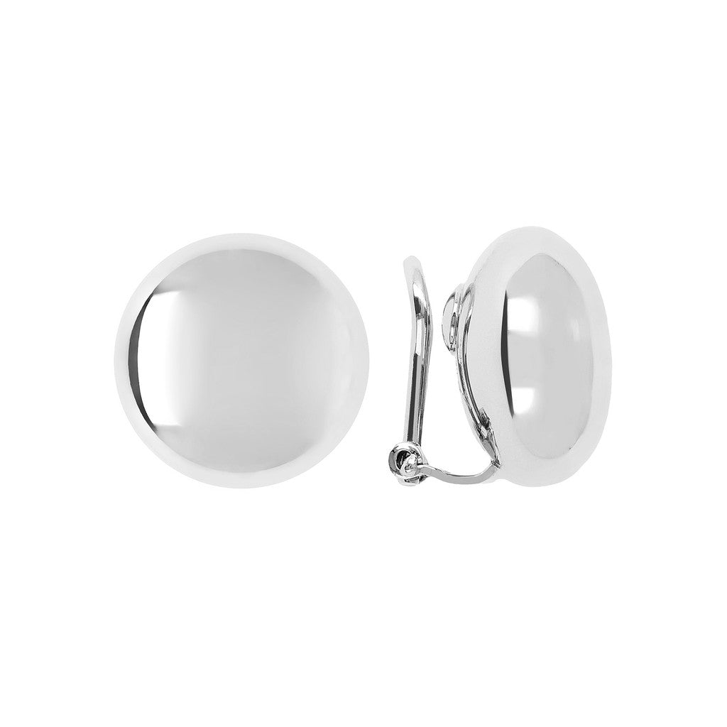 White gold earrings studs Luna front and side