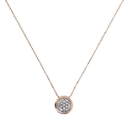 Bronzallure | Necklaces | Round Pendant Necklace with Pavè CZ