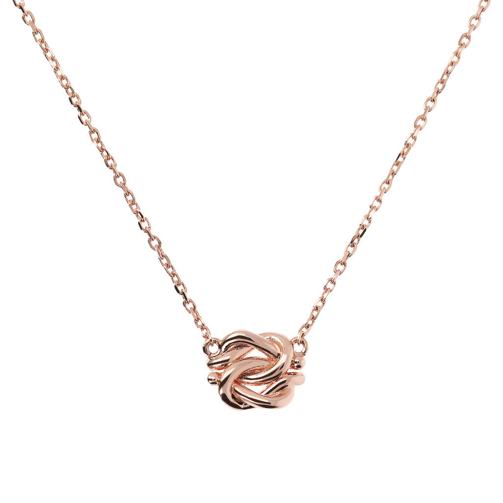 Bronzallure | Necklaces | Short Knot Pendant Necklace in Golden Rosé