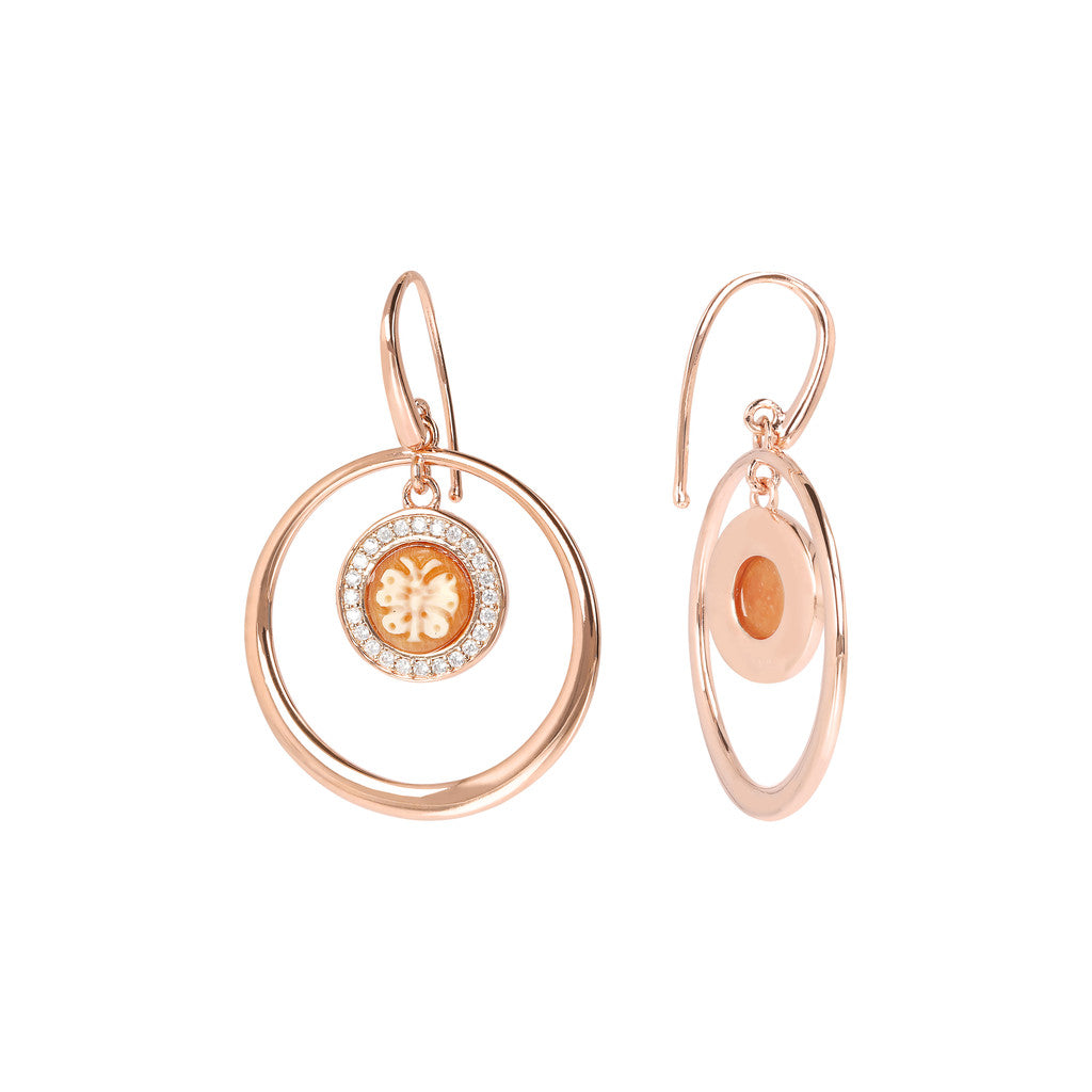 CASSIS-CAMMEO CAMEO LIMITED EDITION CAMEO 8 MM BUTTERFLY CIRCLES EARRING - WSBZ01662 front and side