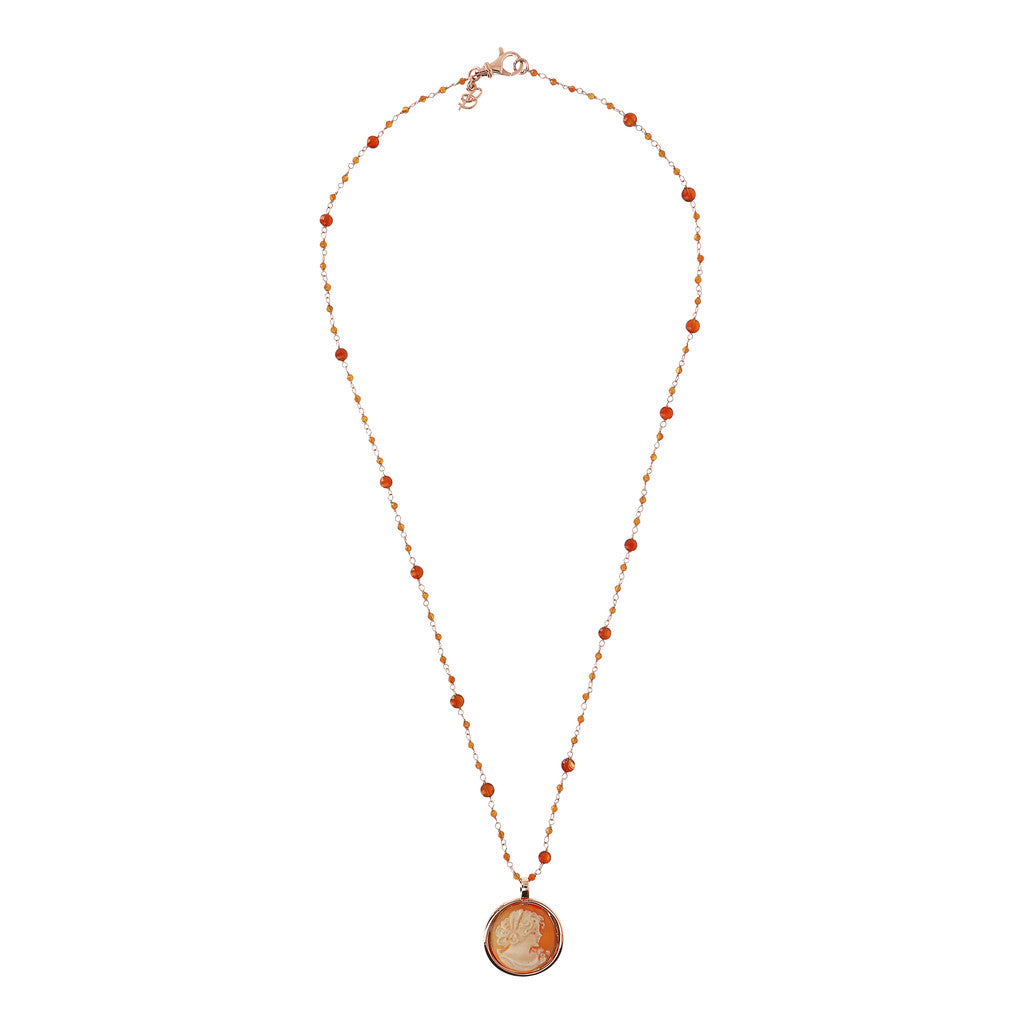 CASSIS-CAMMEO CAMEO LIMITED EDITION ROUND CAMMEO 20 MM WOMAN PROFILE PENDANT - WSBZ01659 CARNELIAN from above