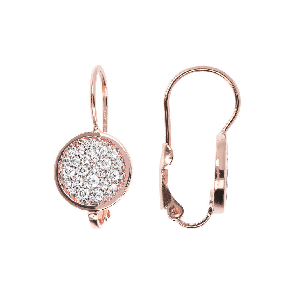 CZ Dangle Earrings with Micropave CUBIC ZIRCONIA front and side