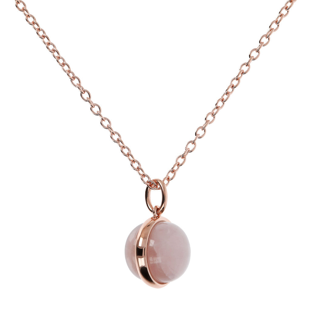 Cabochon Cut Genuine Gemstone Pendant Necklace ROSE QUARTZ