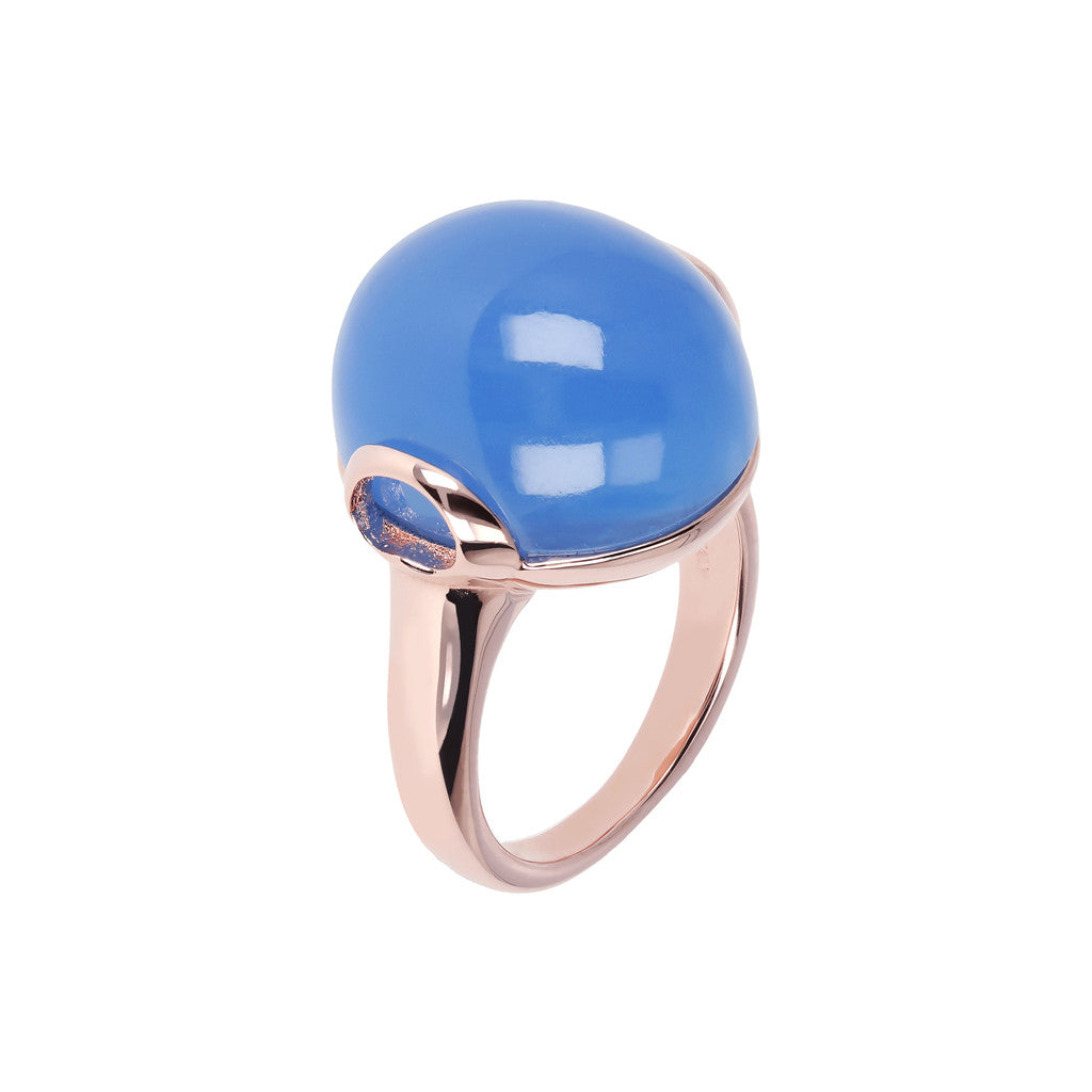 Cabochon Elegance Ring BLUE CHALCEDONY