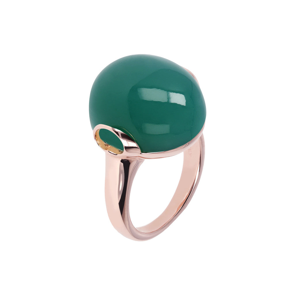Cabochon Elegance Ring GREEN CHALCEDONY
